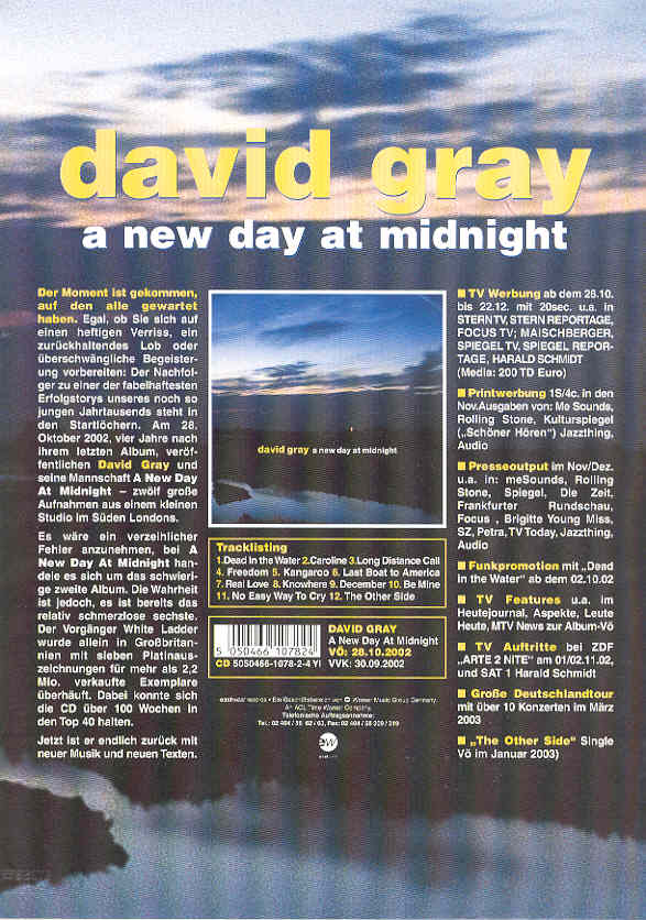 David Gray - A New Day At Midnight Single